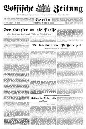 Vossische Zeitung vom 07.04.1933