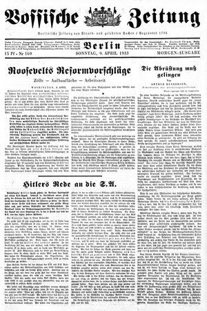 Vossische Zeitung vom 09.04.1933