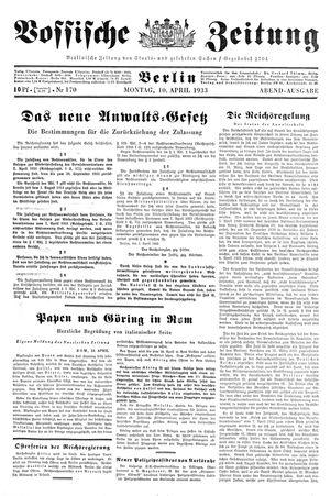 Vossische Zeitung vom 10.04.1933