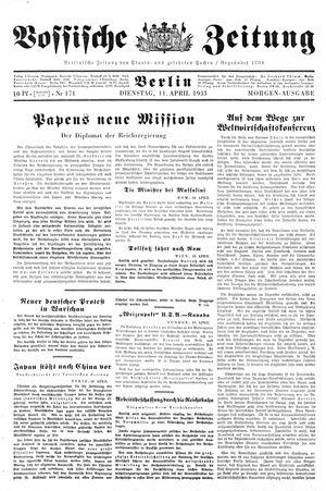 Vossische Zeitung vom 11.04.1933