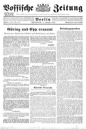 Vossische Zeitung vom 12.04.1933