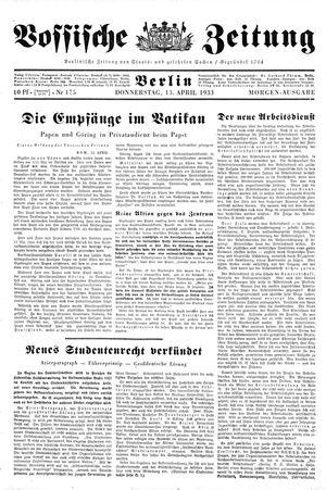Vossische Zeitung vom 13.04.1933