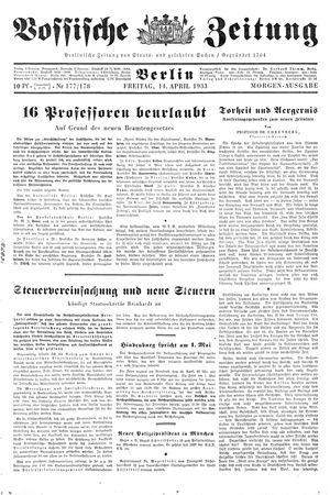 Vossische Zeitung vom 14.04.1933