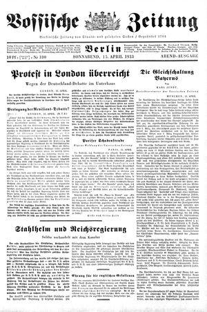 Vossische Zeitung vom 15.04.1933