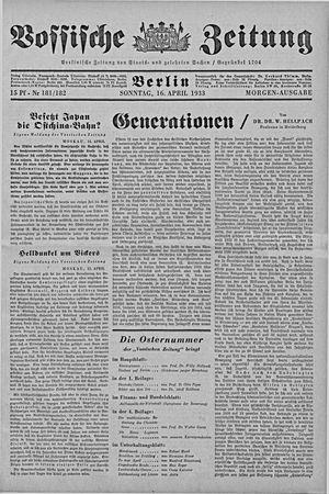 Vossische Zeitung on Apr 16, 1933