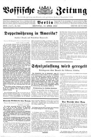 Vossische Zeitung vom 18.04.1933