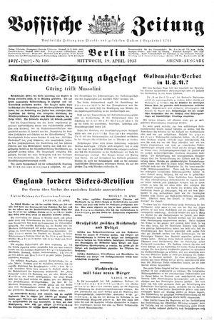 Vossische Zeitung vom 19.04.1933