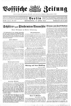 Vossische Zeitung vom 20.04.1933