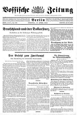 Vossische Zeitung vom 21.04.1933