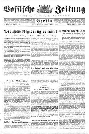 Vossische Zeitung on Apr 22, 1933
