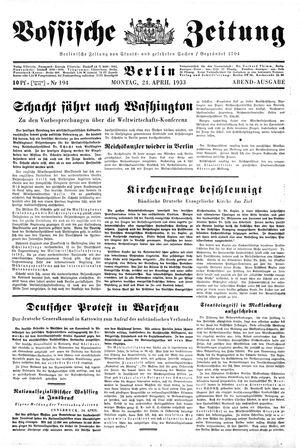 Vossische Zeitung vom 24.04.1933