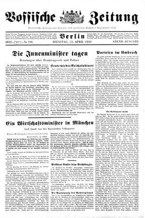 Vossische Zeitung vom 25.04.1933