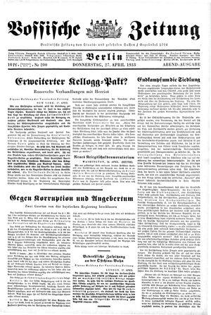 Vossische Zeitung vom 27.04.1933