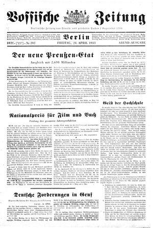 Vossische Zeitung vom 28.04.1933