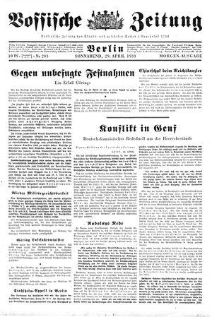 Vossische Zeitung on Apr 29, 1933