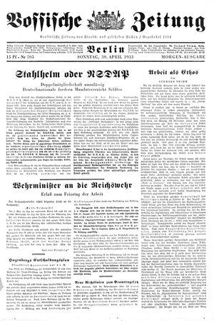 Vossische Zeitung vom 30.04.1933