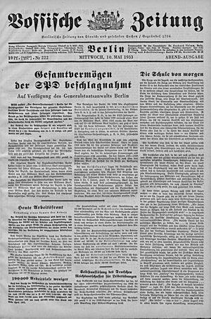 Vossische Zeitung on May 10, 1933