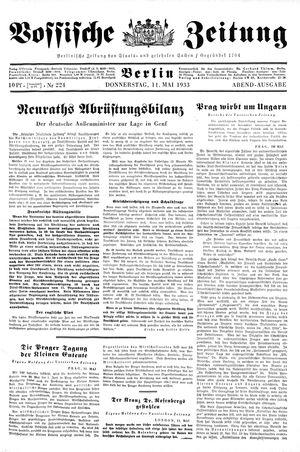 Vossische Zeitung vom 11.05.1933