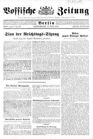 Vossische Zeitung vom 13.05.1933