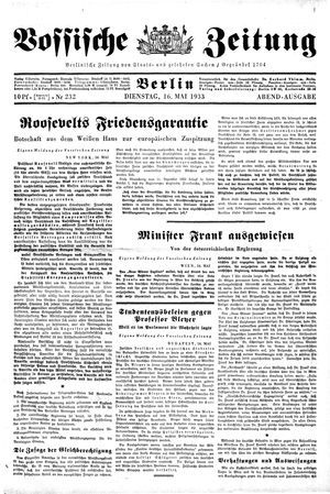 Vossische Zeitung on May 16, 1933