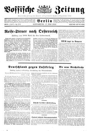Vossische Zeitung on May 27, 1933