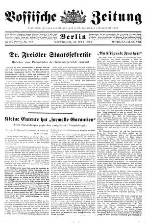 Vossische Zeitung vom 31.05.1933