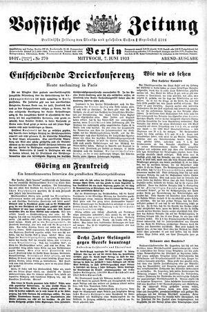 Vossische Zeitung vom 07.06.1933