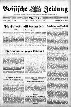 Vossische Zeitung on Jun 10, 1933