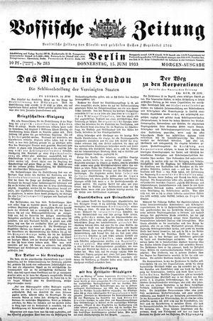 Vossische Zeitung vom 15.06.1933
