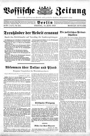 Vossische Zeitung vom 16.06.1933
