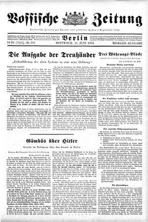Vossische Zeitung vom 21.06.1933