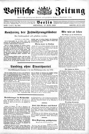 Vossische Zeitung vom 27.06.1933