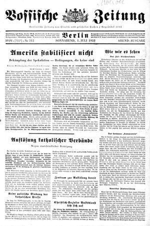 Vossische Zeitung vom 01.07.1933