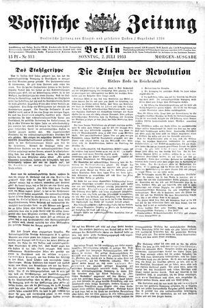 Vossische Zeitung on Jul 2, 1933