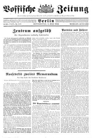 Vossische Zeitung vom 06.07.1933