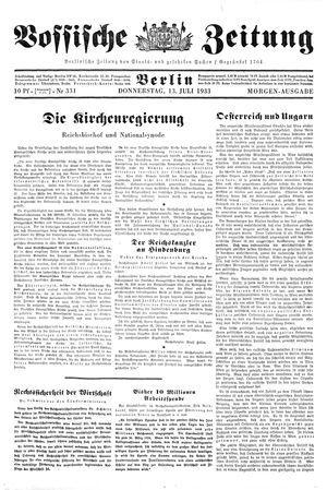 Vossische Zeitung vom 13.07.1933