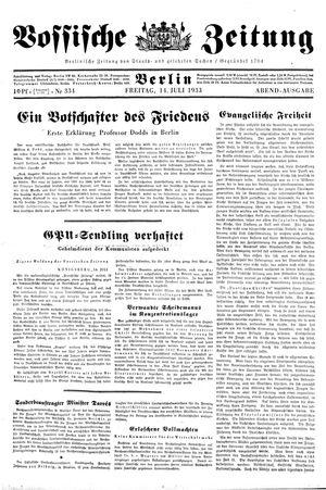 Vossische Zeitung vom 14.07.1933