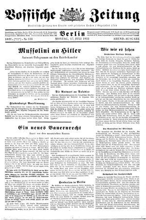 Vossische Zeitung vom 17.07.1933