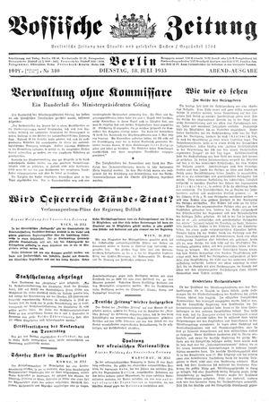 Vossische Zeitung vom 18.07.1933