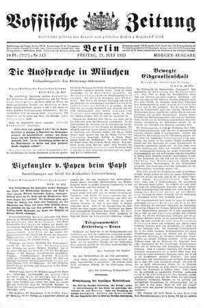 Vossische Zeitung vom 21.07.1933