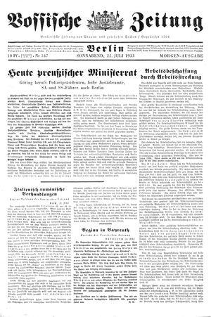 Vossische Zeitung vom 22.07.1933