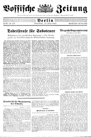 Vossische Zeitung vom 23.07.1933