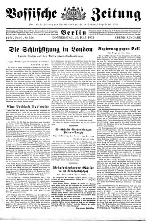 Vossische Zeitung vom 27.07.1933