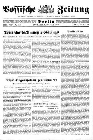 Vossische Zeitung vom 29.07.1933