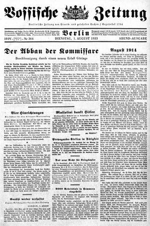 Vossische Zeitung vom 01.08.1933
