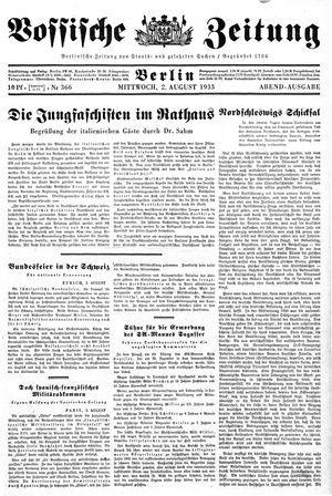 Vossische Zeitung vom 02.08.1933