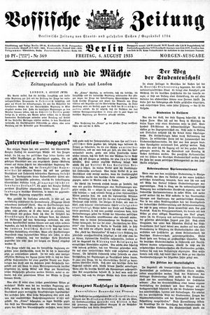 Vossische Zeitung vom 04.08.1933