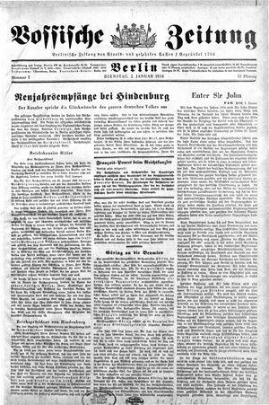 Vossische Zeitung vom 02.01.1934