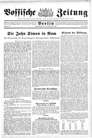 Vossische Zeitung vom 03.01.1934