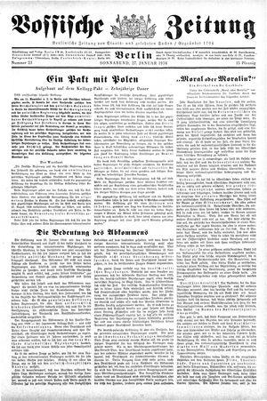 Vossische Zeitung vom 27.01.1934